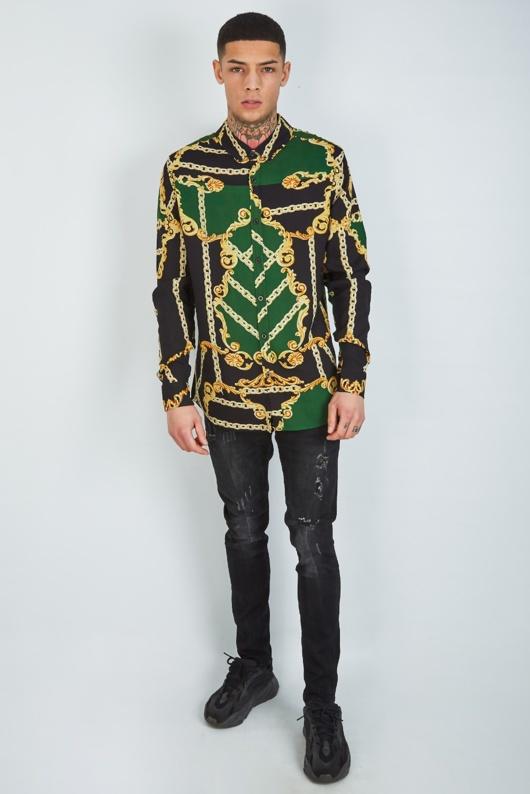 Mens Green Baroque And Chain Print Shirt