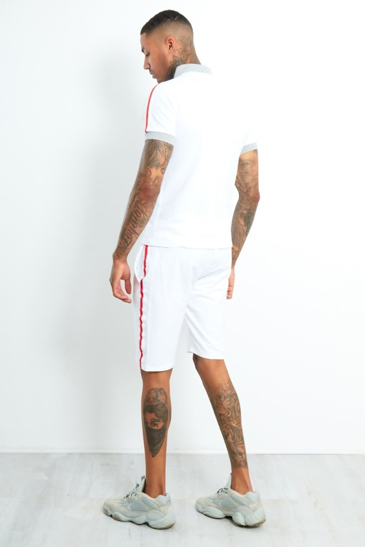 AJ191-Mens White Polo Shirt And Short Set With Side Tape