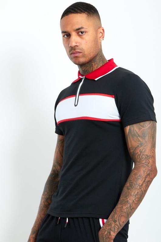 AJ212 -Mens Black Contrast Panel Polo Shirt And Short Set