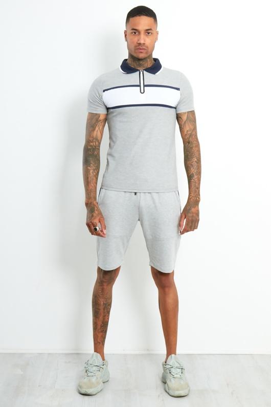 AJ214 -Mens Grey Contrast Panel Polo Shirt And Short Set