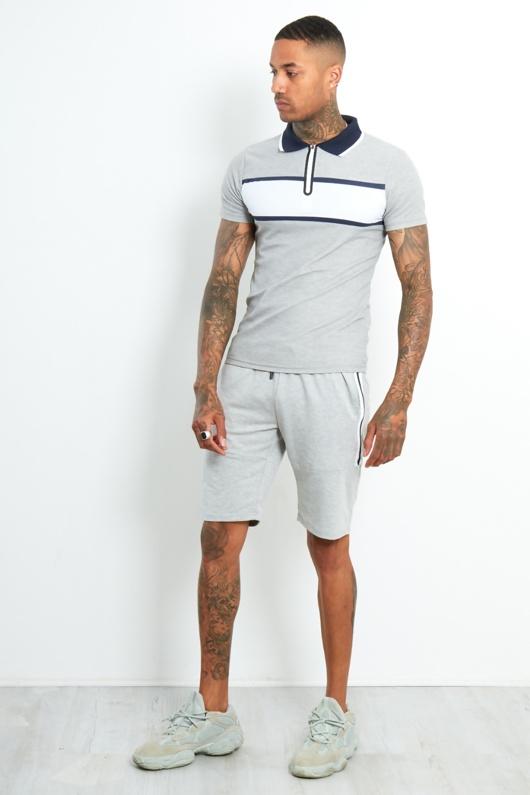 Mens Grey Contrast Panel Polo Shirt And Short Set