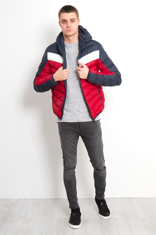 Mens Brave Soul Two-Tone Puffer Jacket