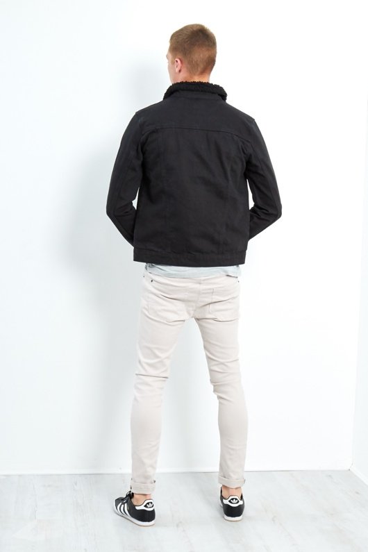 Black Mens Borg Collar Denim Jacket