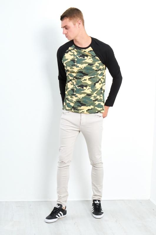 Mens Brave Soul Camo Raglan T-Shirt