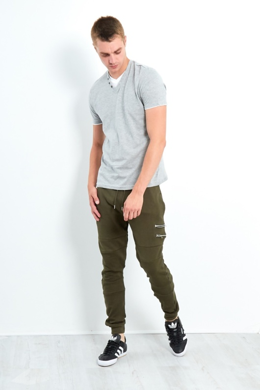 Mens Grey Button Detail Can V Neck Tee