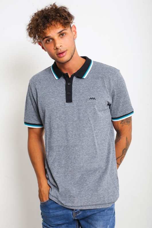 Mens Black Marl Striped Collar Polo Shirt