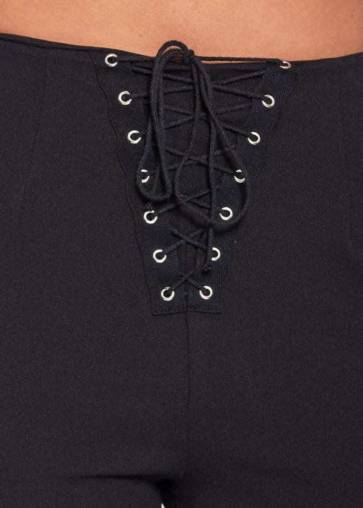 Black High Waisted Eyelet Detailed Lace Up Trousers