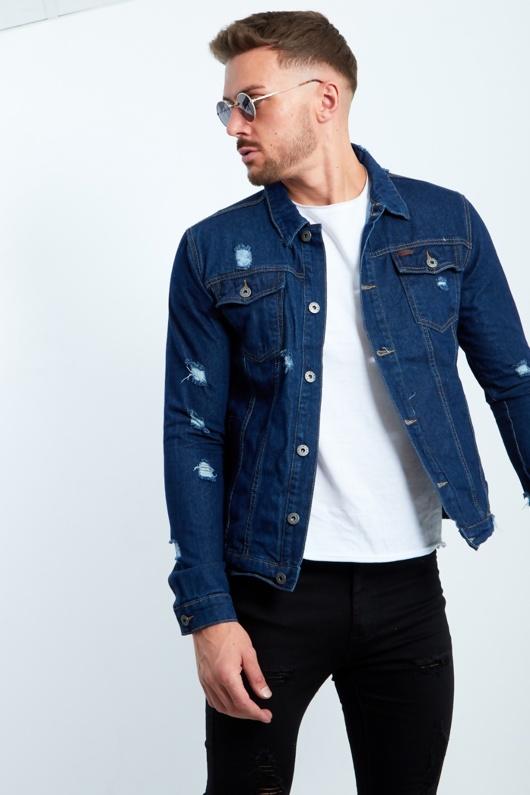 Distressed Dark Denim Jacket