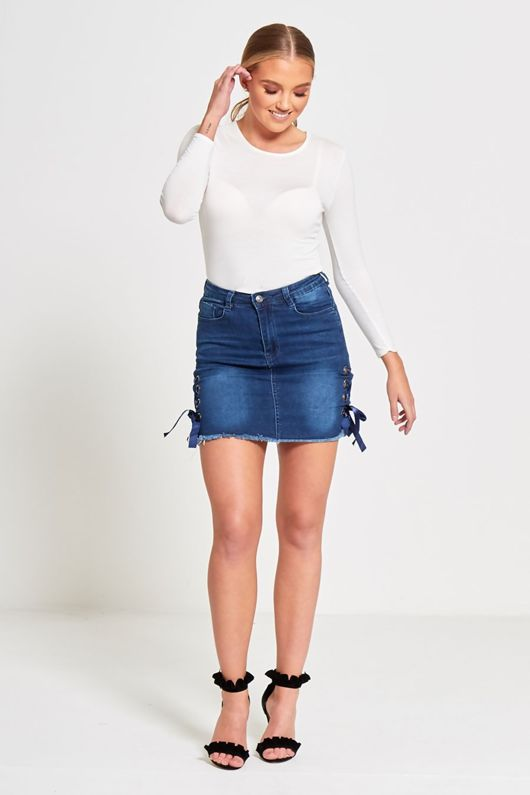 denim eyelet tie ribbon mini skirt