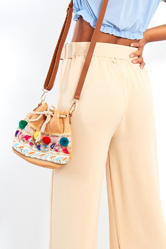 Pom Pom Tan Cross Body Bag