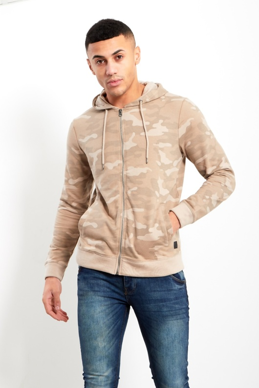 Mens Beige Camo Zip Up Hood Jacket
