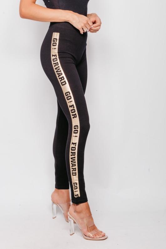 Gold Side Logo Seamless Black Gym Leggings