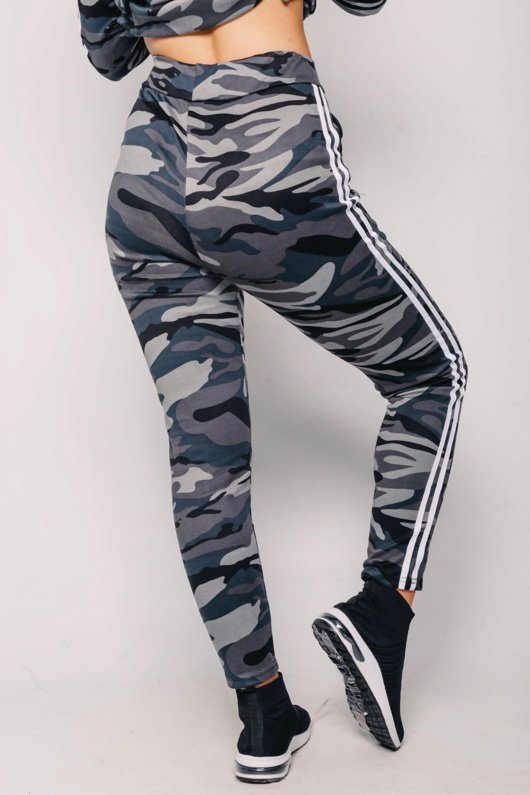 Grey Side Stripe Camo Jogger Set With Hooded Top