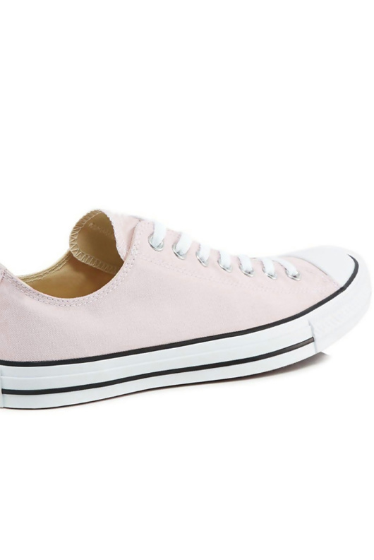 Pink Canvas Stripe Sole Flat Trainers