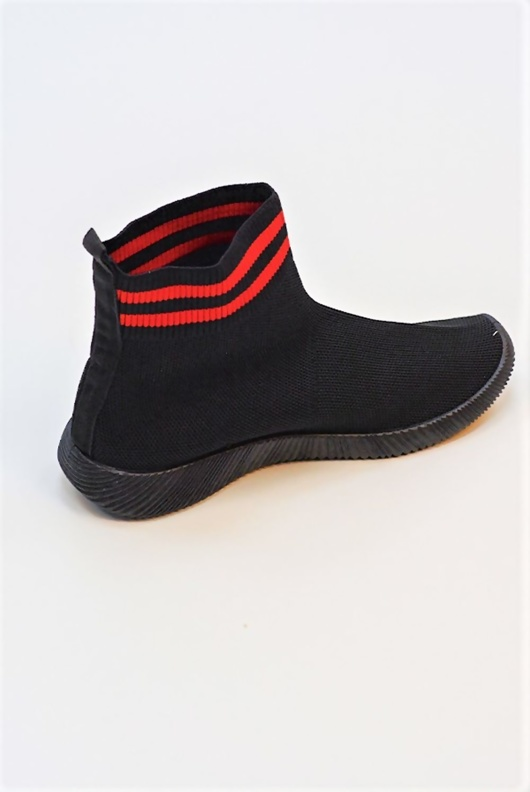 Black And Red Stripe Sock Trainer
