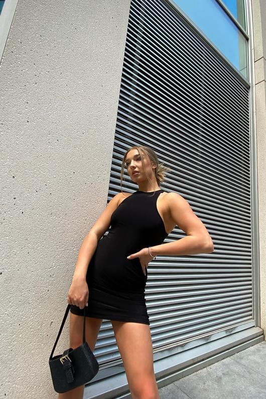 Black Double Slinky Racer Neck Mini Dress