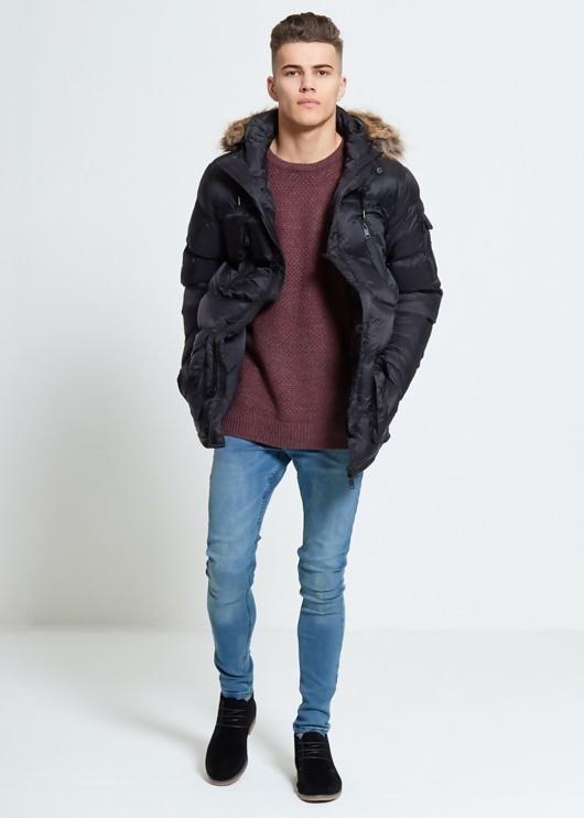 Black Parka Jacket With Faux Fur Hood