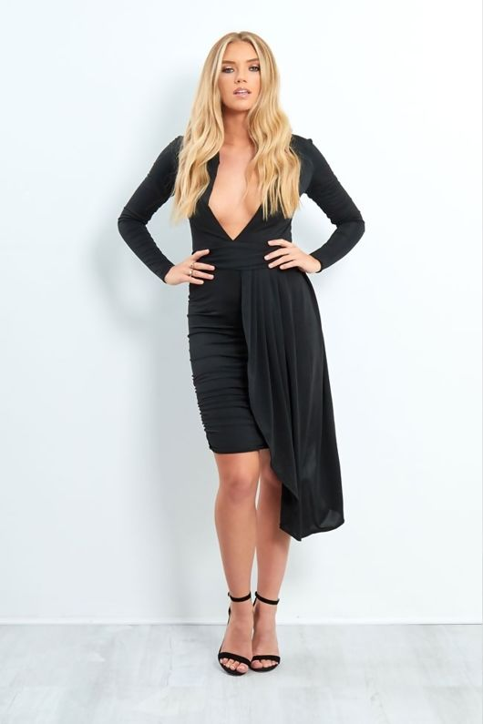 BLACK PLUNGE NECK RUCHED SIDE MINI DRESS
