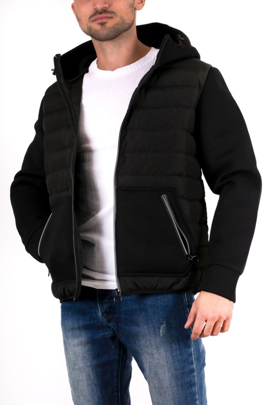 Mens Black Hooded Reflective Zip Hybrid Jacket