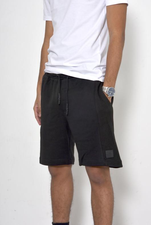 Mens Black Ribbed Sweat Shorts