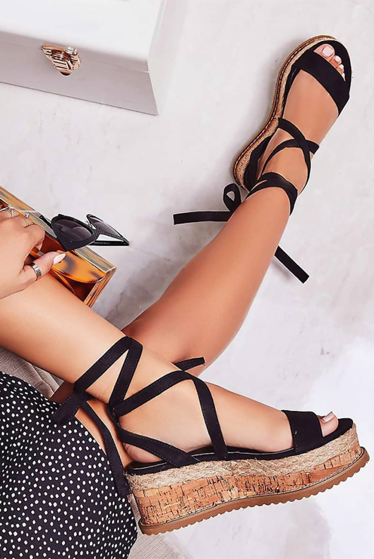 Black Suede Tie Up Espadrille Platform Sandals