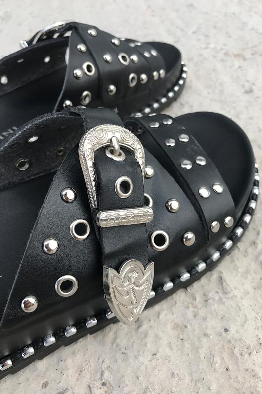 Black Western Buckle Slider