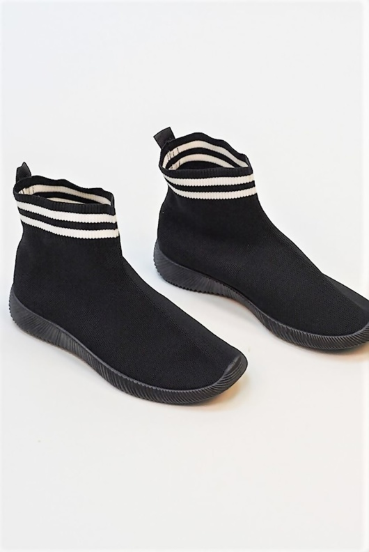 Black And White Stripe Sock Trainer