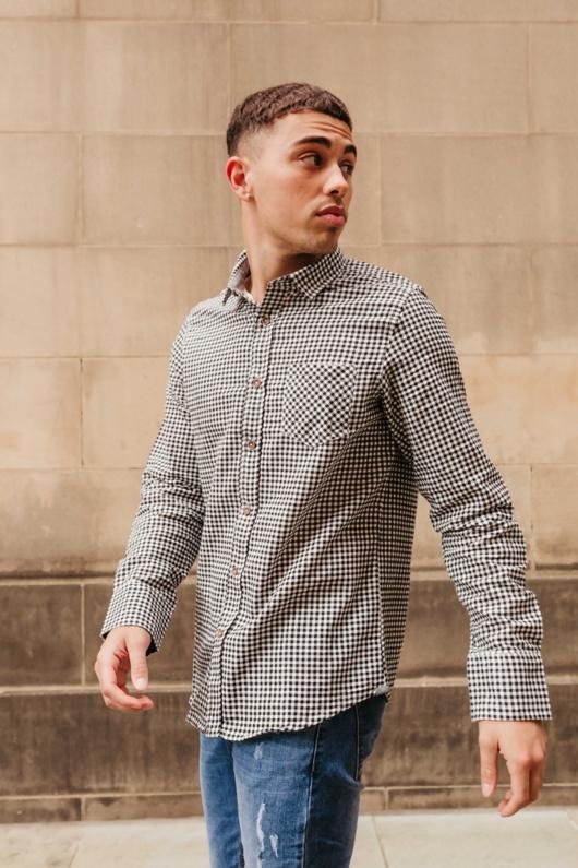 Mens Black Long Sleeve Gingham Shirt