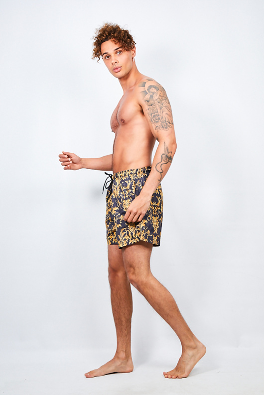 Mens Black Baroque Print Swim Shorts