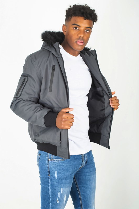 Mens Charcoal Fur Hood Parka Jacket