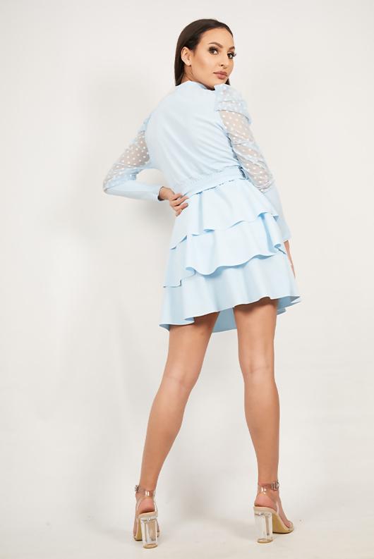 Baby Blue Mesh Sleeve Ruffle Tiered Dress