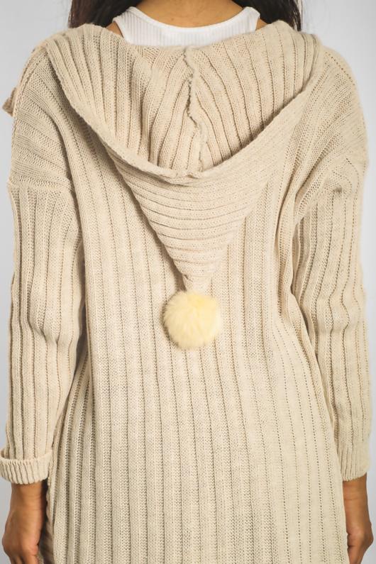 Beige Hooded Cardigan With Pom-pom