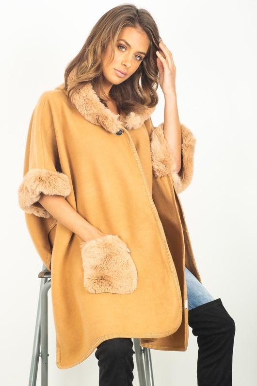 Beige faux Fur Detailing Cape