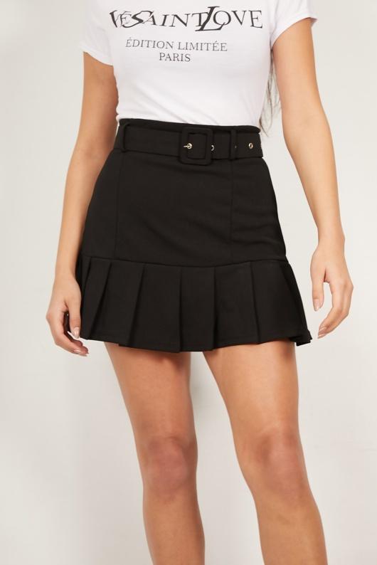 Black Belted Mini Ruffle Skirt