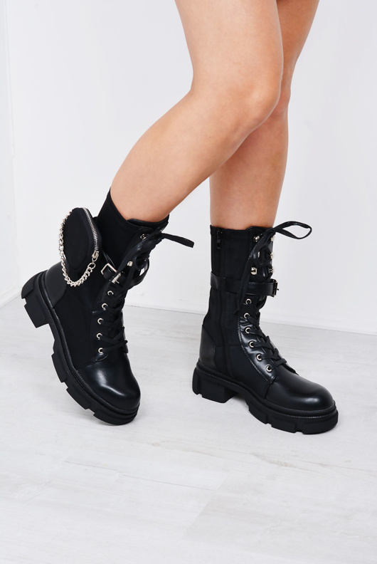 Black Chain Pocket Trim Lace Up Extreme Cleated Sole Biker Boot