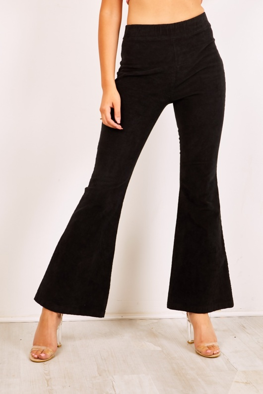 Black Cord High Waisted Flare Trousers