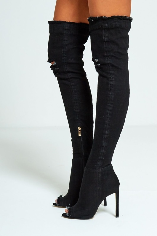 Black Denim Ripped Thigh Boots