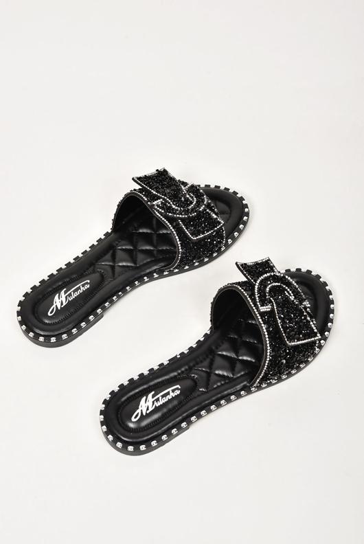 Black Diamante Bow Sandals