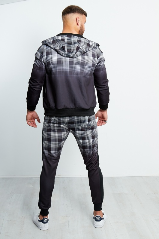 Black Faded Checked Print Zip Through Tracksuit