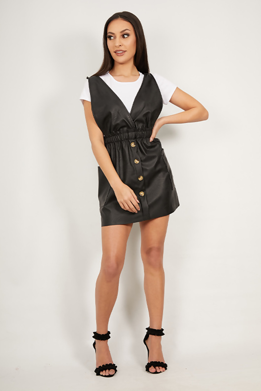 Black Faux Leather Pinafore Dress