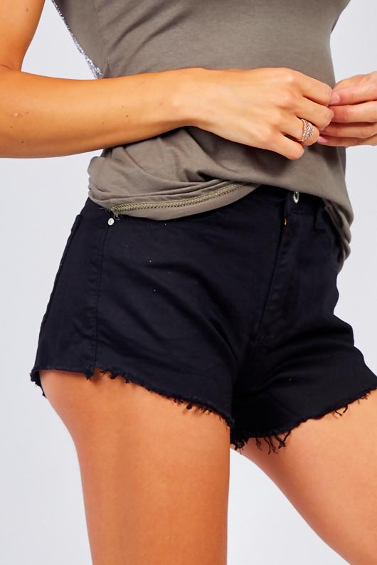 Black Frayed Hem Denim Shorts