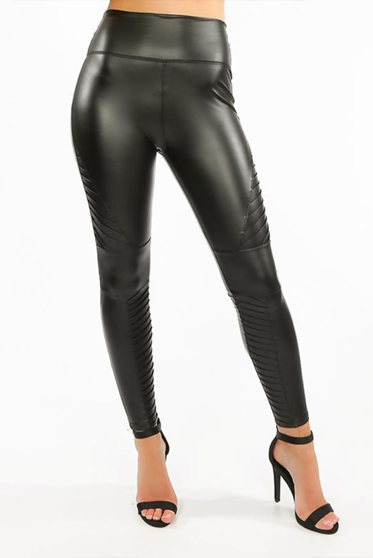 Black High Waisted Faux Leather Biker Leggings