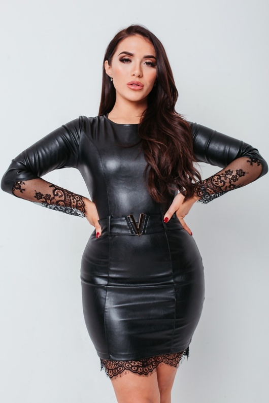 Black Leather Look Lace Trim Bodycon Mini Dress