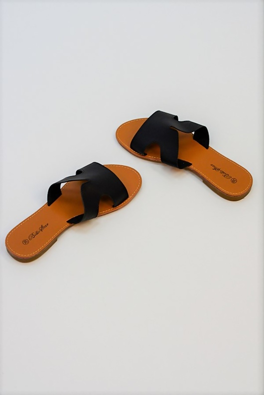 Black Leather Open Toe Cutout Strap Sliders