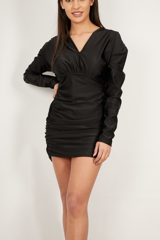 Black Long Sleeves Ruched Mini Dress