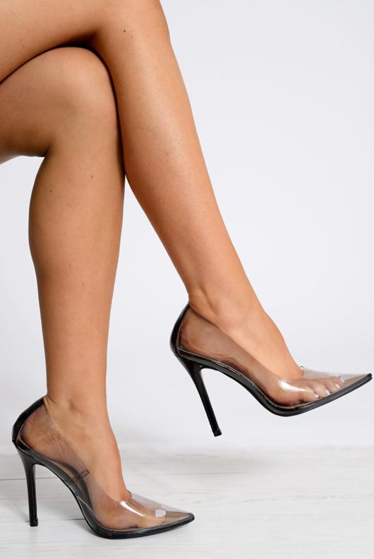 Black Perspex Pointed Toe Stiletto Heels