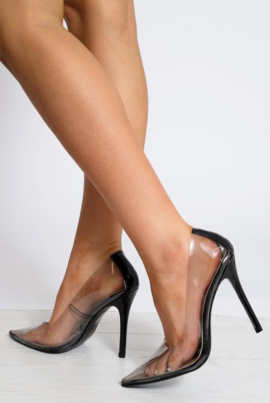 Black Perspex Pointed Toe Stiletto