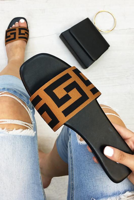 Black Printed Strap Sliders
