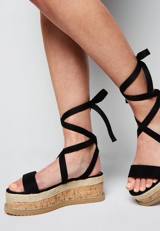 Black Suede Tie Up Espadrille Flatform Sandals