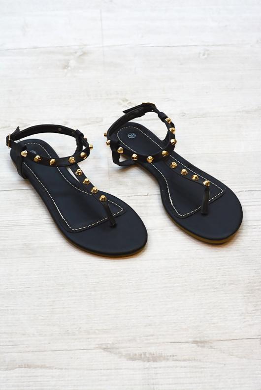 Black T Bar Studded Flat Sandals